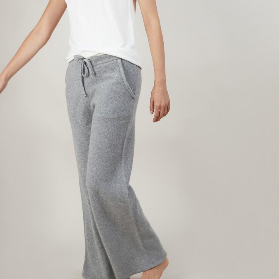 Pantalon droit en cachemire et laine recyclés - Gessy 7013 vapeur - 09 Gris moyen
