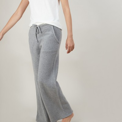 Flare pants in recycled cashmere and wool - Gessy