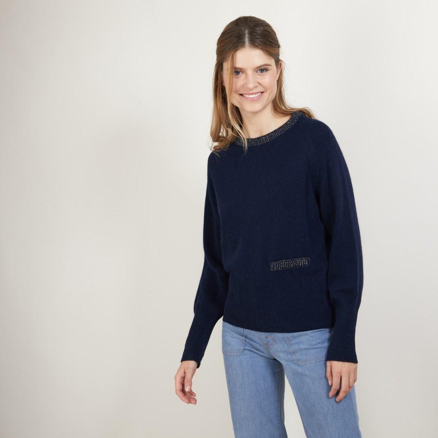 Pull col rond manches raglan en laine alpaga - Gina 7130 marine or - 05 Bleu marine