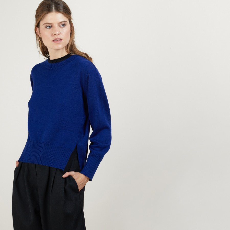 Pull bicolore en laine - Gimmie 7178 fregate/noir - 48 Bleu roi