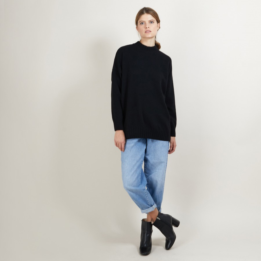 Pull col montant oversize en cachemire et laine recyclés - Glace 7010 noir - 01 Noir