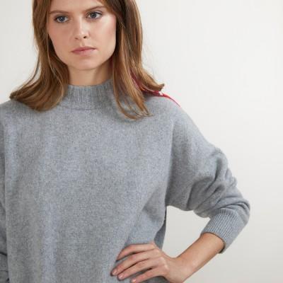 Pull col montant oversize en cachemire et laine recyclés - Glace
