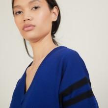 Pull bicolore à fentes en laine - Glee 7155 marine/baltique - 05 Bleu marine