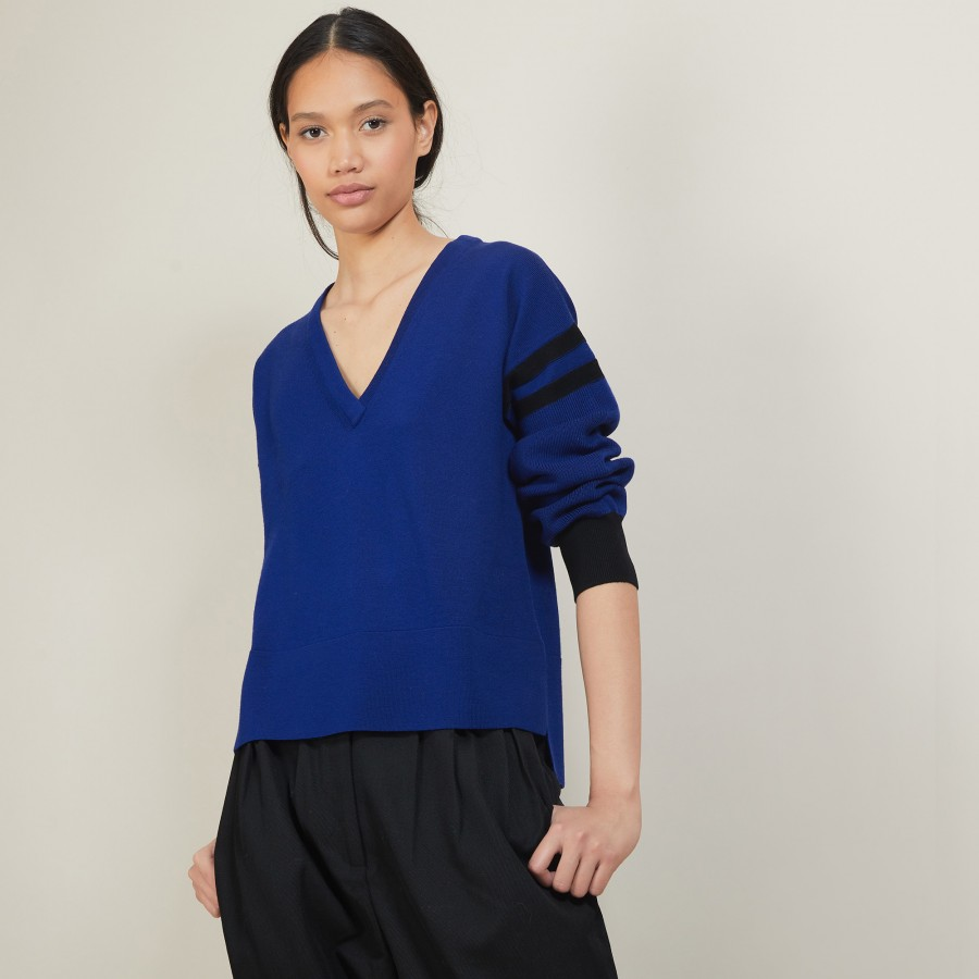 Two-tone wool sweater with slits - Glee