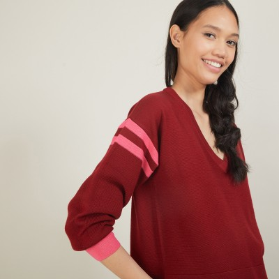Pull bicolore à fentes en laine - Glee