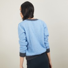 Pull bicolore col rond en mohair - Flavie