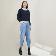 Two-tone round neck mohair sweater - Flavie