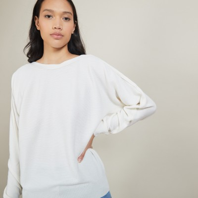 Cotton cashmere boat neck sweater - Felice