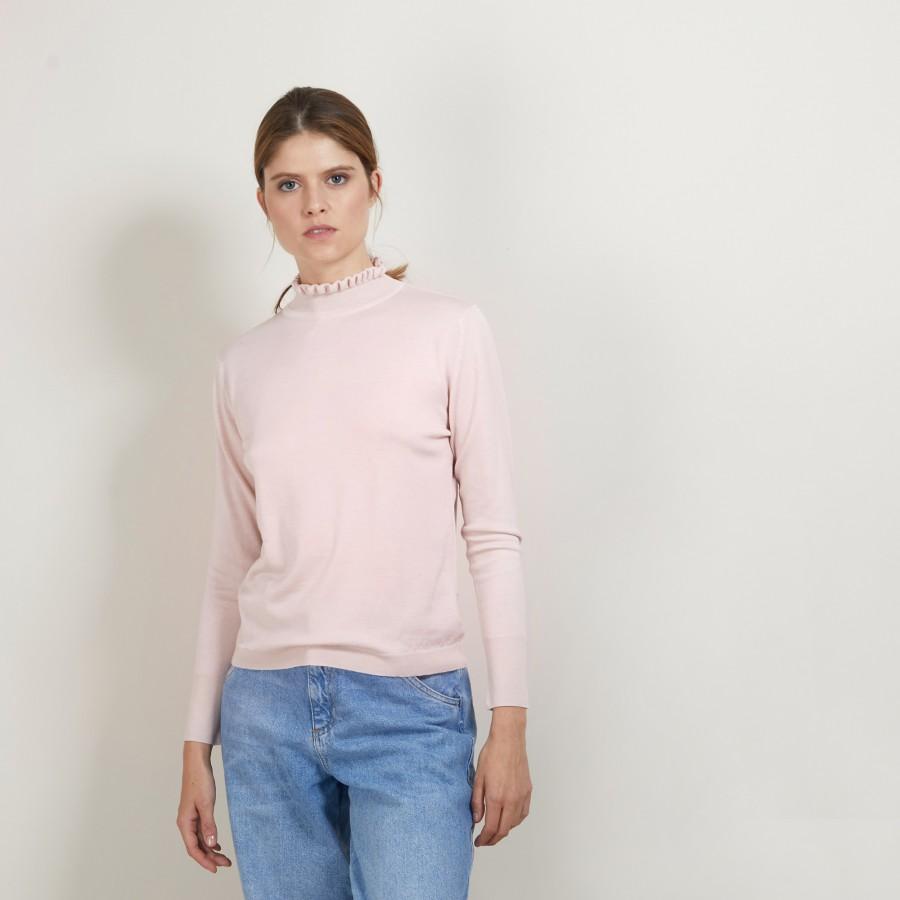 Pull col fantaisie en laine et soie - Florina 7084 opale - 24 Rose clair