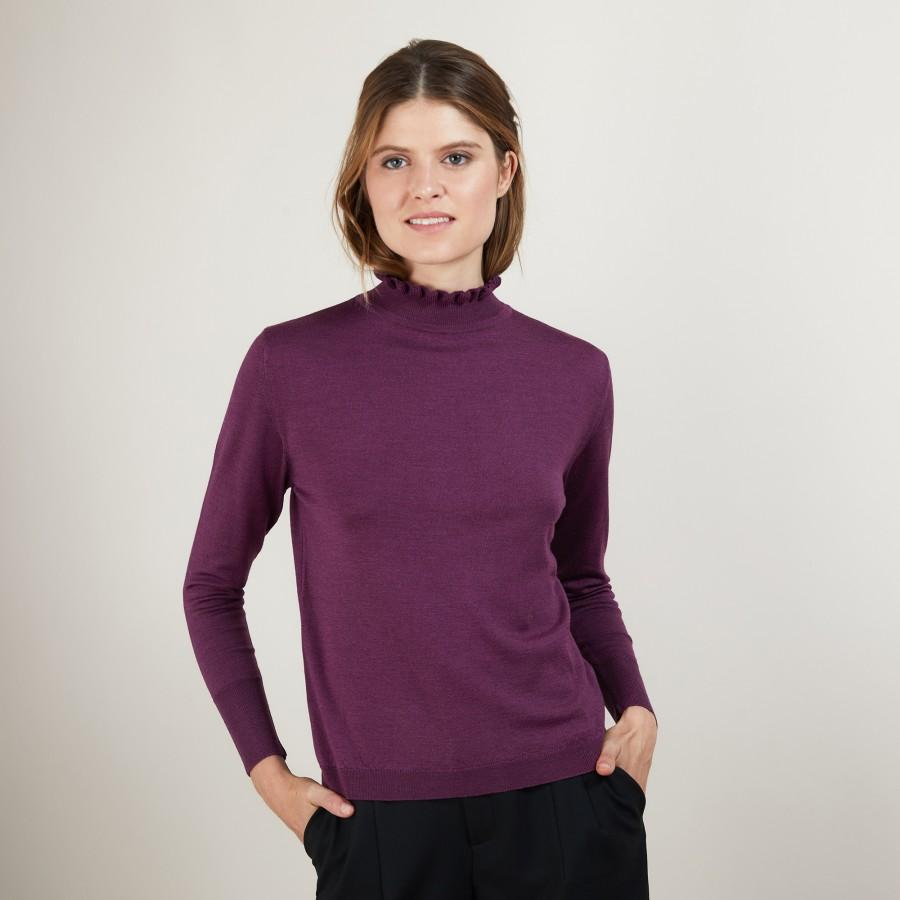 Pull col fantaisie en laine et soie - Florina 7085 damas - 18 Violet foncé