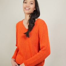Pull col v en laine et soie - Blovis 7081 fusion - 15 Orange