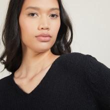 Pull col v en laine et soie - Blovis 7010 noir - 01 Noir