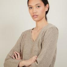 Pull col v en laine et soie - Blovis 7001 dune - 13 Beige moyen