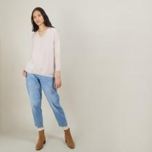 Pull à fentes col v en laine - Bernice 7084 opale - 24 Rose clair