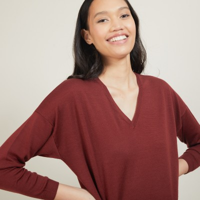V-neck slit sweater in merino wool - Bernice