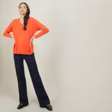 Pull à fentes col v en laine - Bernice 7081 fusion - 15 Orange