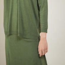 Pull à fentes col v en laine - Bernice 7050 bronze - 83 Kaki