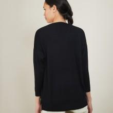 Pull à fentes col v en laine - Bernice 7002 arome - 82 Ecru