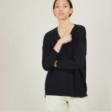 Pull à fentes col v en laine - Bernice 7010 noir - 01 Noir