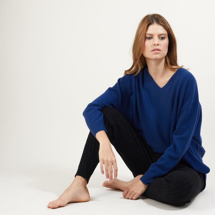 Pantalon en cachemire et laine recyclés - Gaby 7010 Noir - 01 Noir