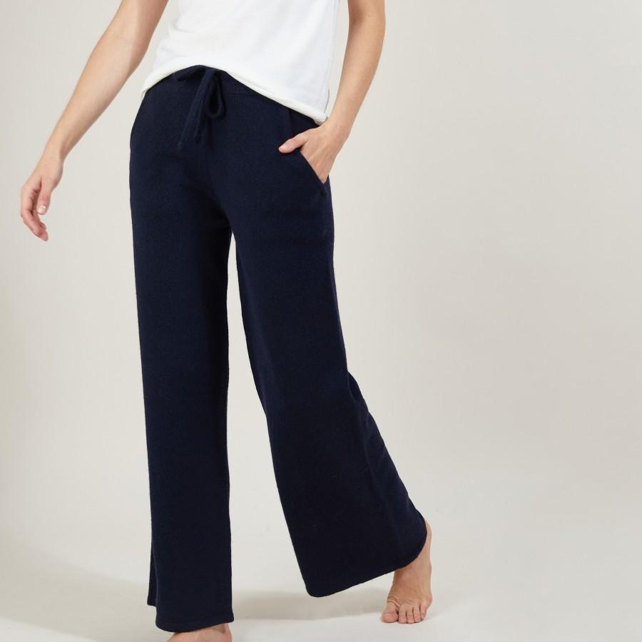 Pantalon droit en cachemire et laine recyclés - Gessy 7040 marine - 05 Bleu marine