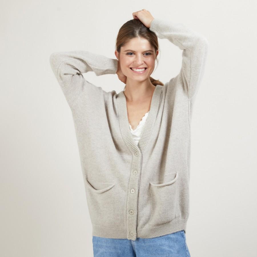 Long gilet à poches en laine alpaga - Galaxie 7105 dune/or - 13 Beige moyen