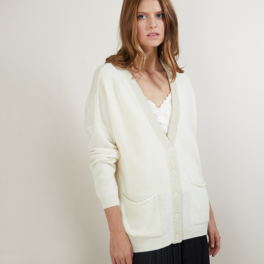 Long cardigan with pockets in alpaca wool - Galaxie