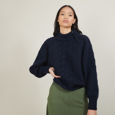 Zipped high-neck mohair sweater - Gilda