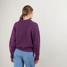 Pull col montant zippé en mohair - Gilda 7085 damas - 18 Violet foncé