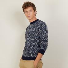 Pull graphique en coton et laine - Lorenzo 7126 marine/dune/ombre/bronze/rivage - 05 Bleu marine