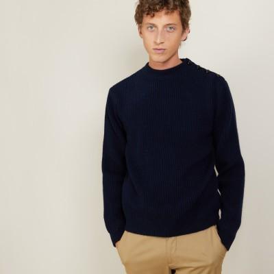 Pull boutons épaule en laine et Alpaga - Lewis