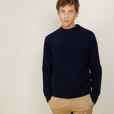 Wool and Alpaca shoulder buttons sweater - Lewis