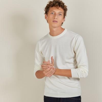 Round-neck wool and silk sweater - Barsam