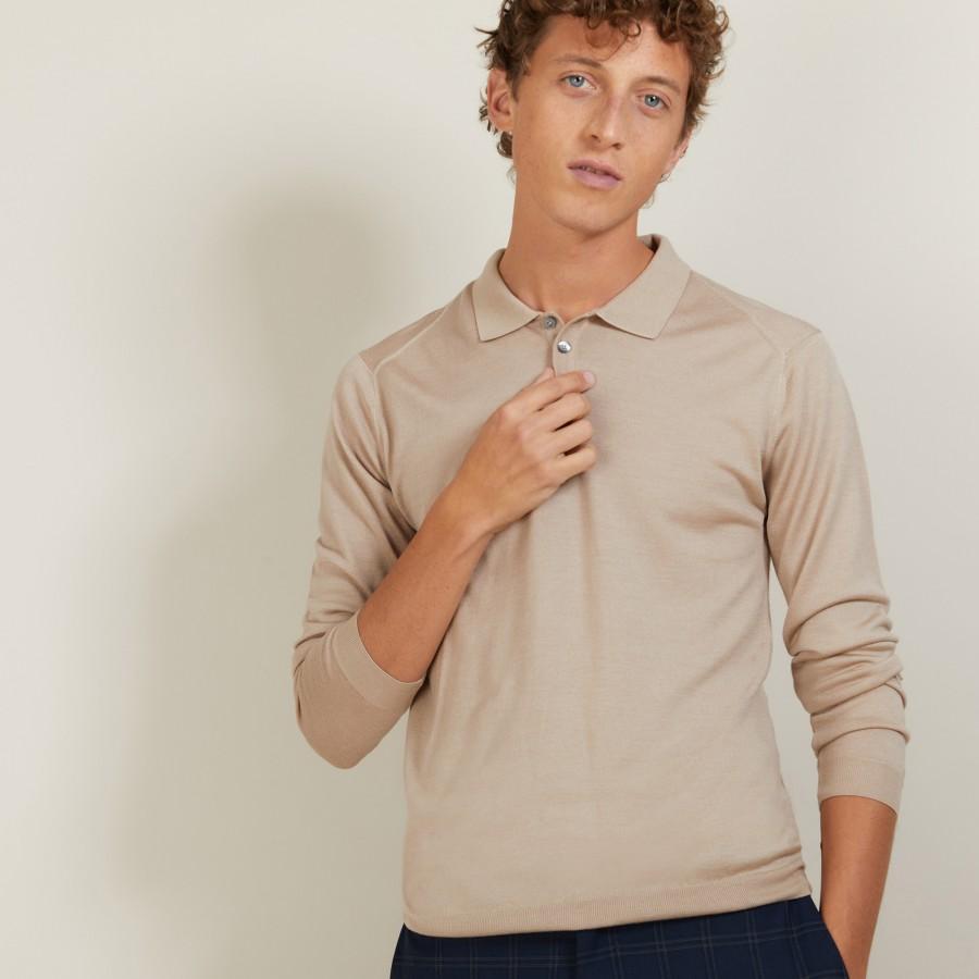 Polo en laine et soie - Bartev 7001 dune - 13 Beige moyen