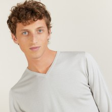 V-neck sweater in wool and silk - Basil