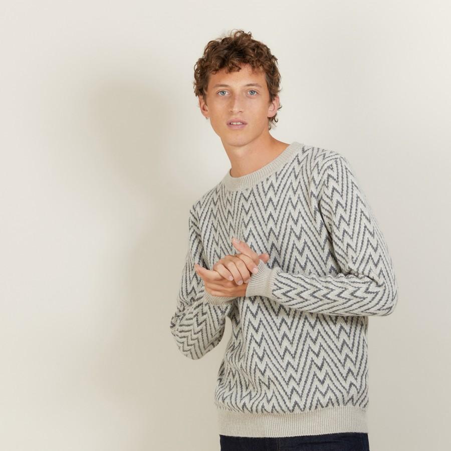 Pull motifs chevrons en laine et Alpaga - Luka 7134 dune/volute/arome - 13 Beige moyen