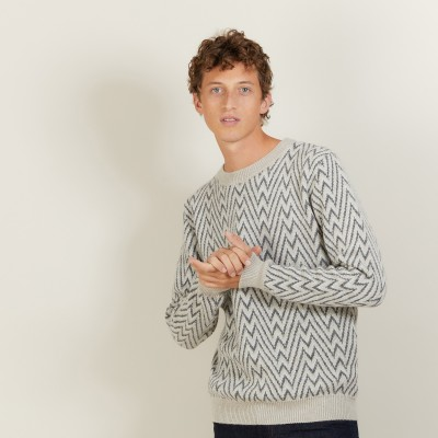 Herringbone pattern sweater in wool and Alpaca - Luka