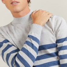 Striped wool sweater with high neck collar - Lazar