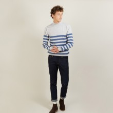 Pull rayé col montant en laine - Lazar 7158 vapeur baltique - 06 Bleu moyen