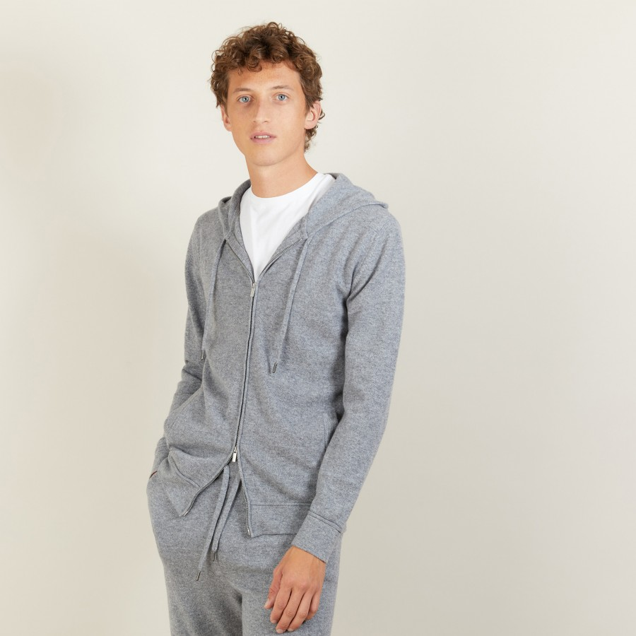 Zipped cashmere hooded jacket - Bradley