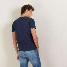T-shirt col tricolore en coton piqué - Duc