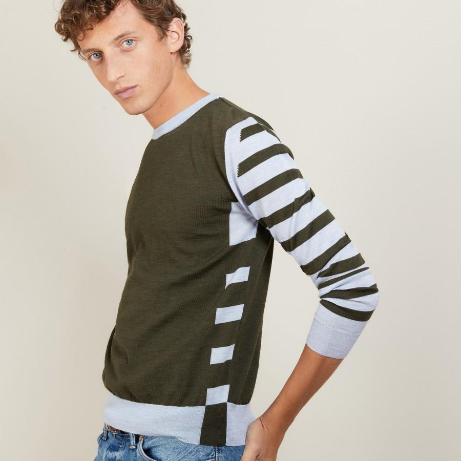 Two-tone striped wool sweater - LEO