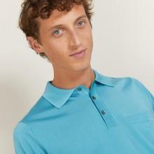 Polo manches longues homme en Fil Lumière Boris 5333 nerifer - 49 Turquoise