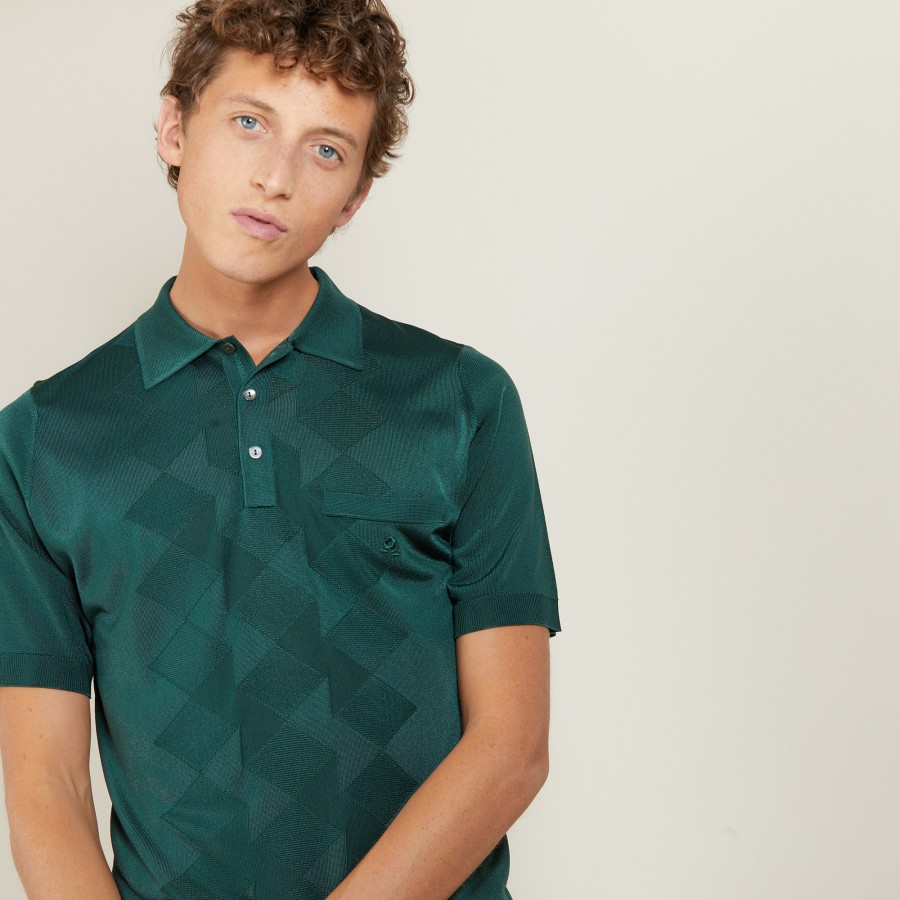 Diamond Pattern in Fil Lumiere Polo - Brett