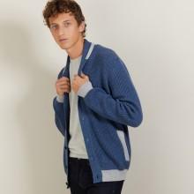 Cardigan bicolore boutonné en laine - Loveo 7158 vapeur/baltique - 06 Bleu moyen
