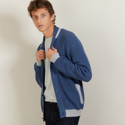 Cardigan bicolore boutonné en laine - Loveo