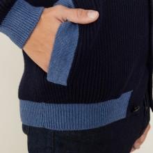 Cardigan bicolore boutonné en laine - Loveo 7147 marine/baltique - 05 Bleu marine