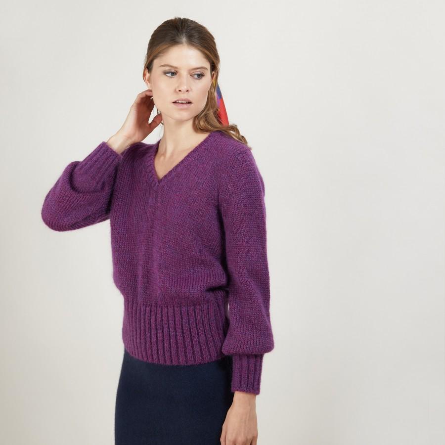 Pull col V en mohair - Gracy 7085 damas - 18 Violet foncé