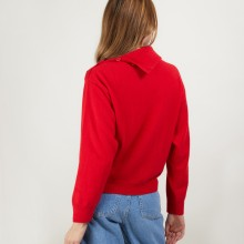 Pull col boutonné en cachemire - Gretel bis 7080 dahlia - 52 Rouge