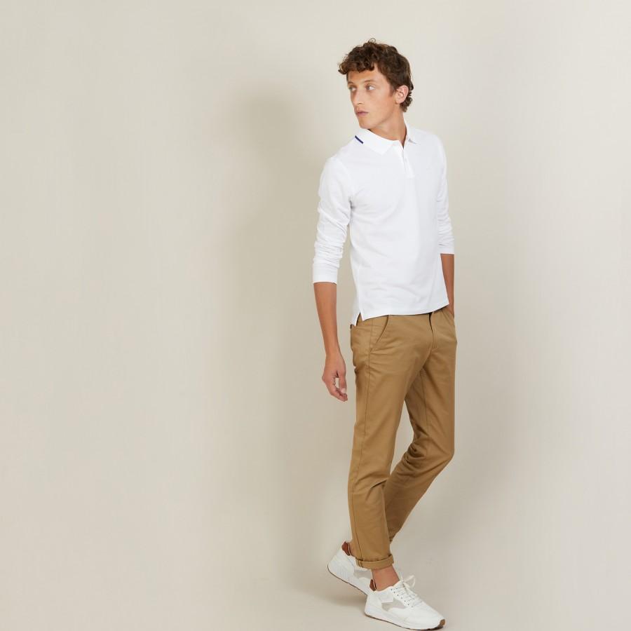 Polo manches longues en coton piqué - Banjo 6802 blanc + altitude - 02 Blanc
